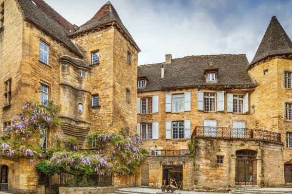 around our bed and breakfast sarlat with famous goose statue in Sarlat-la-Caneda, Dordogne, France